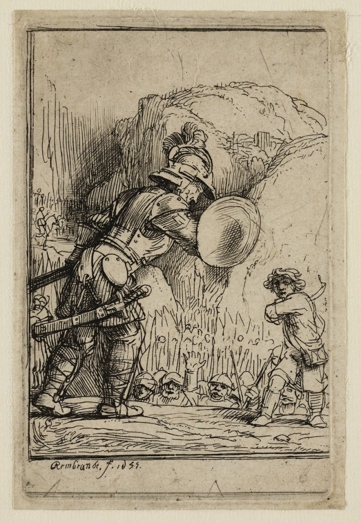 david en goliath rembrandt
