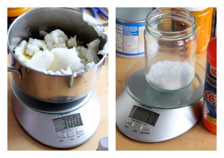 Bij een megsel van olijfolie en kokosvet van in titaal 300 g. hadden wij 77 g. NaOH nodig. Gebruik de zeepcalculator om de juiste verhoudingen te bepalen.