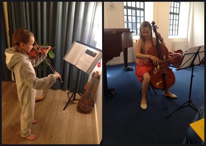 Maria en Prisca spelen kerstmuziek.
