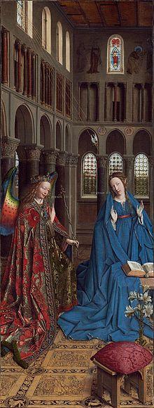 Dit bijzondere schilderij van Jan van Eyck (14de eeuw) gaat over het verhaal van Maria en de engel. Het is best ingewikkeld, want Maria en de engel zijn in een kerk. Zo was het natuurlijk niet echt, maar er zit een hele theologie achter dit schilderij, namelijk dat de komst van Jezus al was voorspeld in vroegere tijden. Als je op het plaatje klikt, kun je meer over dit schilderij lezen,