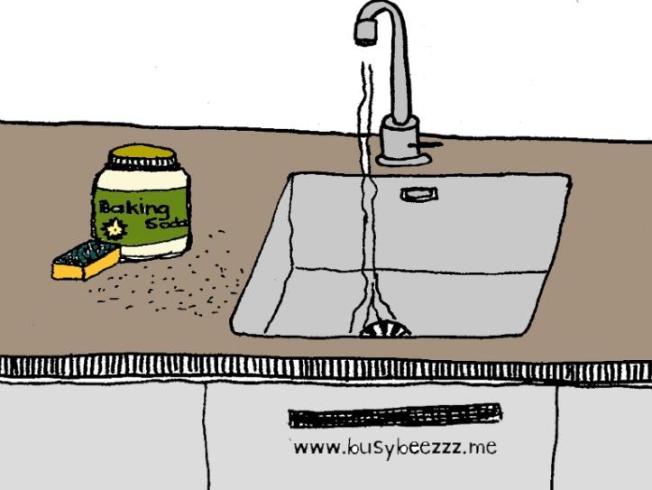 baking soda aanrecht keuken schuurmiddel