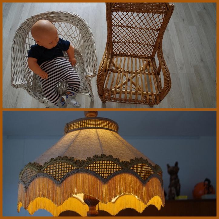 De kinderen van Liesbeth zitten op stoeltjes van vroeger. En boven de eettafel hangt een oude lamp van een tante.